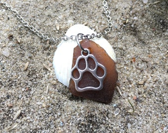 Brown beach glass necklace