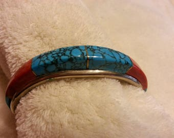 Vintage Native American Turquoise Coral Sterling Silver Bracelet