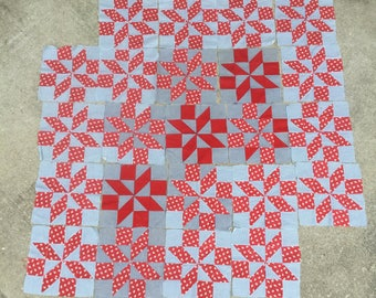 23 Pinwheel Quilt Blocks Large Patchwork 1930s Antique Quilting Handmade Quilters Blocks Stripe Solid Red Calico Print Quilt Squares 11""