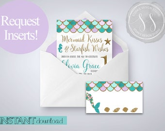 Mermaid Insert Cards, Mermaid Invitation Inserts, Mermaid Party Invitation Inserts