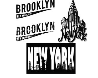 New York Svg Brooklyn svg America svg USA svg Patriotic svg cutting file for Silhouette or Cricut Distressed svg Svg Dxf