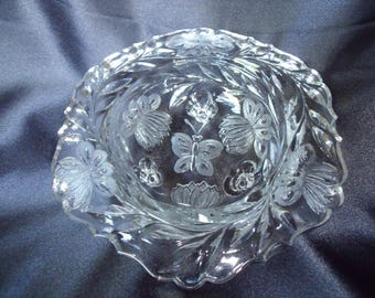 Cut Glass Butterfly and Lotus Candy Dish