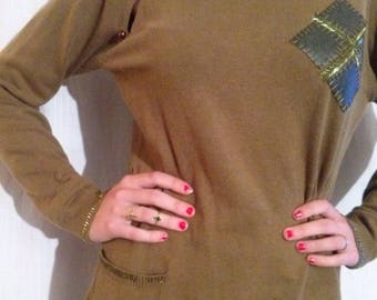Sweater sleeves long khaki silk and fiber blends