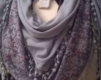 Viscose and gray color crochet scarf