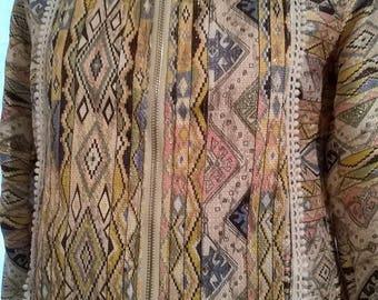 Jacket short multicolored ethnic pattern