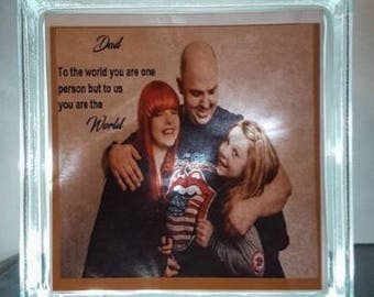 Father's Day Personalised Photo Glass Light Block
