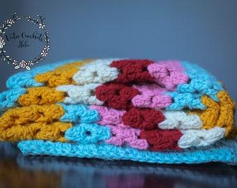 Crochet Granny Square Striped Throw Blanket