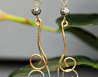 Gold and silver swirl earrings
