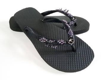 Dragonfly flip flops, Decorated flip flops, Beach sandals, Beaded sandals, Black flip flops, Beaded flip flops, Womens flip flops