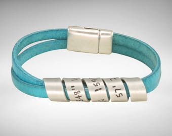 Secret message hand stamped leather bracelet  - Distressed Turquoise leather  | Friend Gift | Husband Gift | Men's Bracelet |