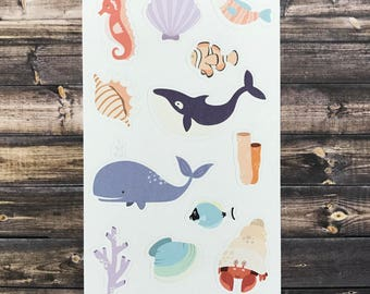 kid's sea life stickers, whale stickers, fish stickers, seahorse stickers, hermit crab stickers, kids party favors, stocking stuffers