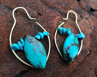 OOAK Genuine turquoise earweights earrings for stretched ears gauges plugs 00g 7/16 g