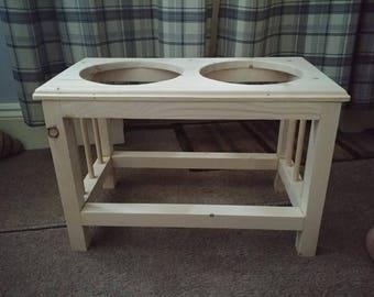 Handmade dog bowl stand for large dog.