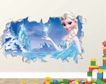 Frozen Elsa Power Magic Wall Decal   Frozen Smashed Sticker   Movie Kids 3D  Smashed Art