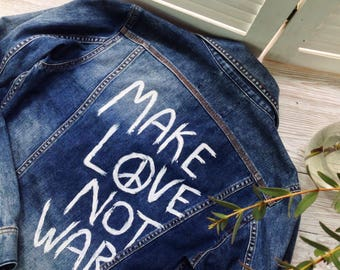 Make love not war hand painted diesel denim jacket