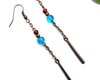 Long metal bronze earrings minimalist earrings ♦ blue turquoise bead