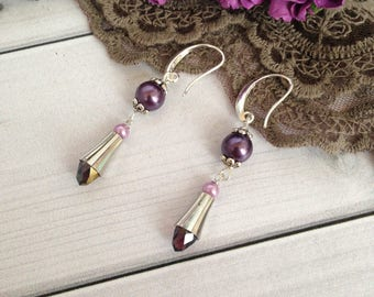 Lilac earrings Gift for woman  Beadwork  earrings Earrings gift Long earrings Elegant earrings Crystal earrings
