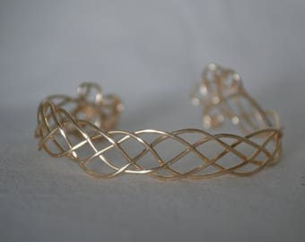 Braided Wire Gold Bangle