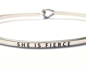 Bangle silver ,(she is fierce)