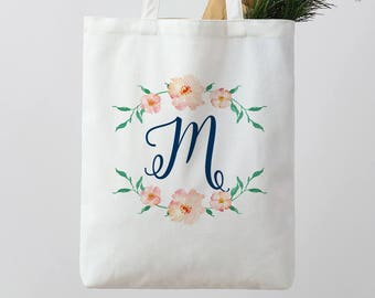 Personalized Wedding Tote Bag Floral Tote Bag white Tote Bag Personalised Tote Bag Bridesmaid Tote Bag Canvas Tote Custom Tote bag