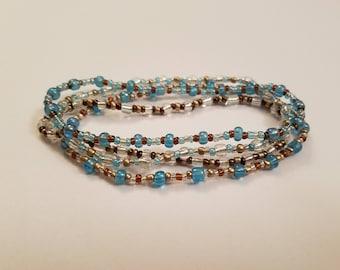 Boho Chic Stretch Bracelets - Boho Bracelet Set -  Light Blue Beaded Bracelet - Boho Jewelry - Beaded Bracelet Set - Boho Bracelet Beaded