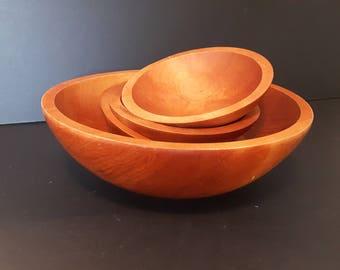 Gorgeous Baribocraft Salad Bowls, Canadian Made, Large Baribo-Maid Salad bowl with 4 side salad bowls, Wood Salad Bowls,