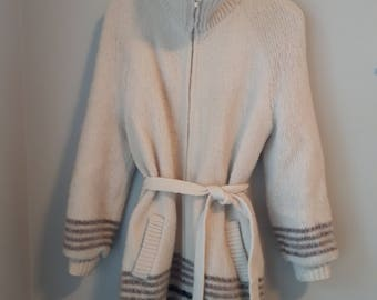 Vintage Wool Coat, Woman's 100% Pure Wool Jacket, Made in Iceland, Hilda Ltd, Natural Colours, Off White, Browns, Fully Lined, Size L