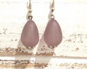 Grey faux sea glass silver earrings
