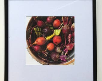 FOOD PHOTOGRAPHY PRINT - farmers market produce art - kitchen art - fine art print - beets - Colorful - square