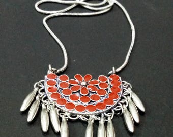 FREE SHIPPING!!!-Bohemian Necklace, Tribal Necklace, Traditional Necklace, Silver & Black Tone, Flower Design Pendant for Women JW-8