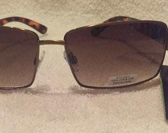 New Retro Vintage KYUSU Sunglasses Tortoise Shell Frames Rectangle Lenses New Old Stock 100% UVA UVB Protection