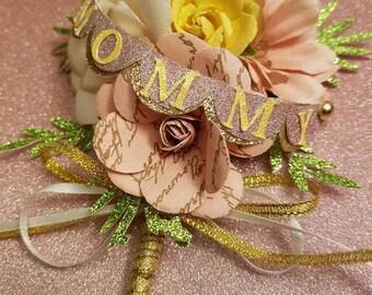 Floral paper corsage