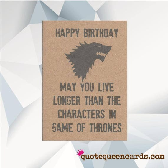 Funny Birthday Card Jon Snow Game of Thrones Card GOT
