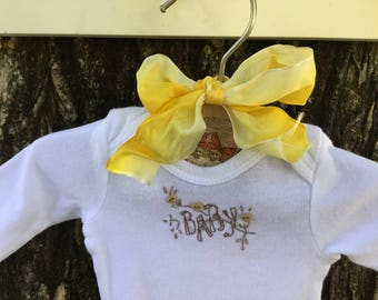 Hand Embroidered Newborn Long Sleeved Onesie