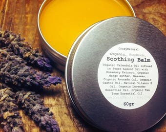 Soothing Balm. Calendula Infused Healing Balm. Organic Herbal Salve. Herbal infused healing balm. Tea Tree & Lavender. 60gr