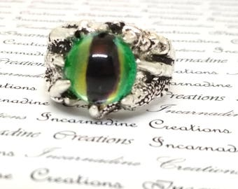 Silver handpainted green eye dragon claw ring gothic