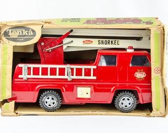 ORIGINAL BOX!!!! Clean Vintage 1970s Tonka Red Snorkel Pumper Fire Truck #2950