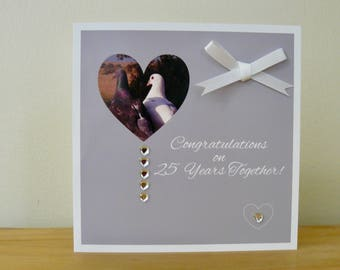 """Individual 140mm Square Blank """"Love Birds"""" Silver Wedding Anniversary Card """"Congratulations on 25 years together!"""" With Satin Bow & Gems"""