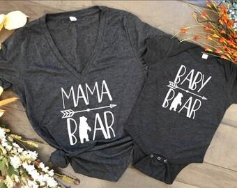 Mama Bear Baby Bear shirt set, mama bear shirt baby bear shirt baby shower, birthday, mothers day gift, pregnancy announcement