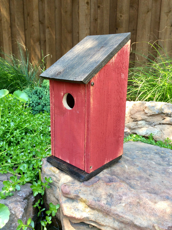 red rustic bluebird house bluebird house cedar birdhouse