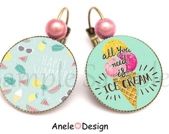 Pink Green watermelon Pineapple Ice - Summer timeAll paracetamol ICE CREAM - cabochon Pearl Earrings pink