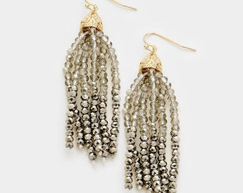 Hematite Color Block Seed Bead Tassel Earrings
