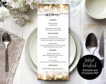 Gold Hearts Wedding Menu Template, Gold Wedding Day Menu Printable, Editable Wedding Menu Template, Menu Wedding Download, Menu Template