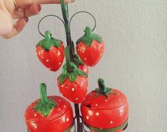 Absolutely ADORABLE STRAWBERRRY Salt/Pepper/Sugar Set - COMPLETE 1960s