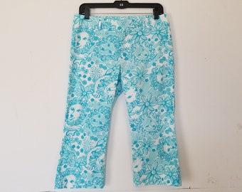 Vintage Lilly Pulitzer Capri Pants Blue White Lions Floral 4