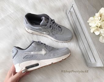 Bling Nike Air Max 90 Shoes in Matte Silver with Classic Silver Swarovski Crystals