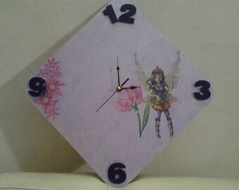 Nursery wooden clock bimba-lilac flowers and fairies