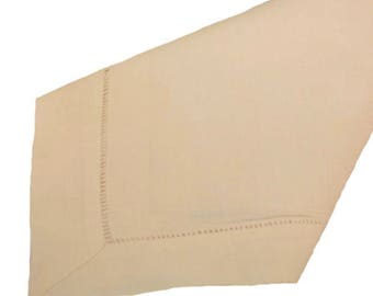 Hemstitch linen/cotton beige napkin
