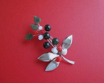 Flower Spray Pin - Jade Coral Onyx - Vintage Pin Floral Roses