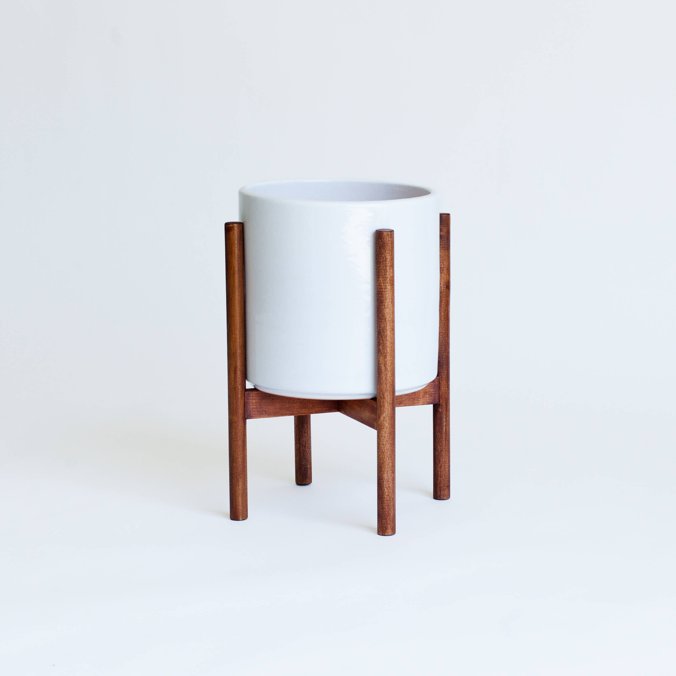 small mid century modern planter plant stand with 6. Black Bedroom Furniture Sets. Home Design Ideas